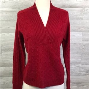 Kinross 100% Cashmere V Neck Cable Knit Sweater
